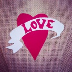 Burlap red LOVE