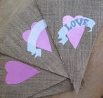 LOVE pink hessian